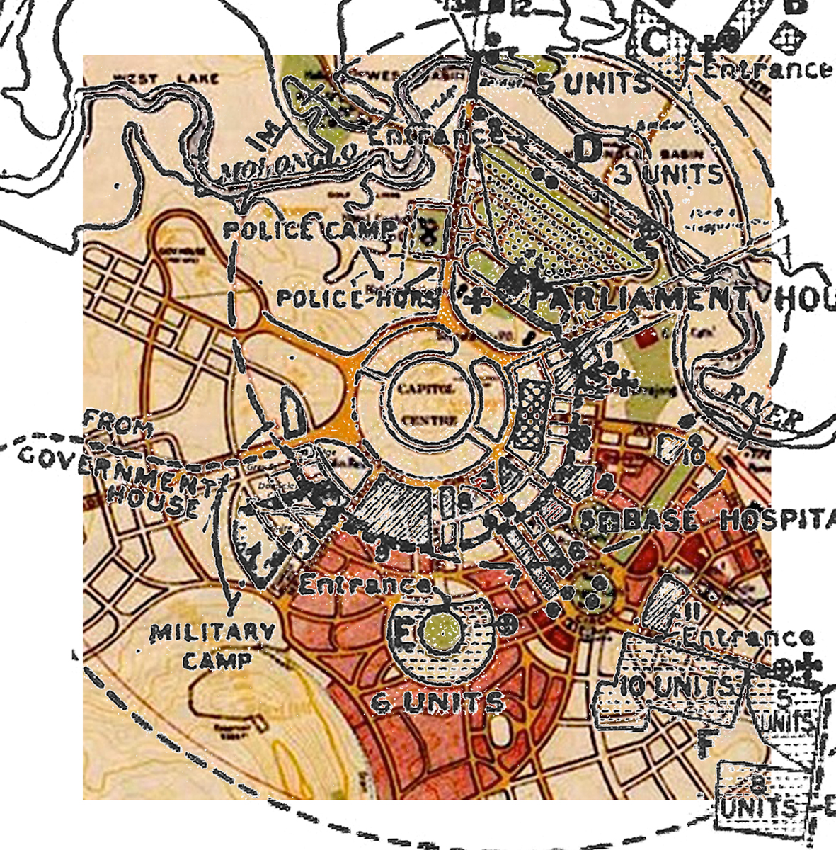 1927 overlay of camp sites on 1927 map