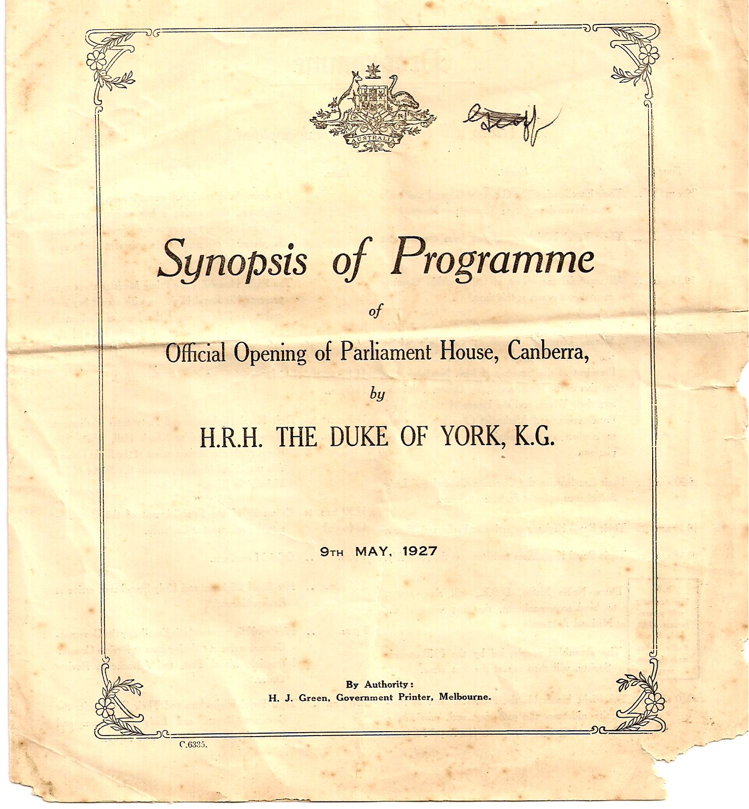 Programme 9 May 1927